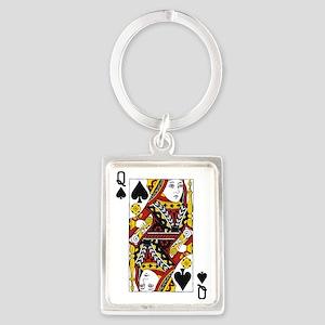 Queen of Spades Portrait Keychain