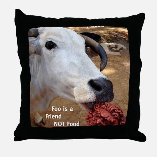 Zebu Foo-d Throw Pillow