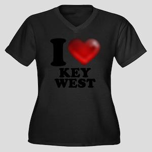 I Heart Key  Women's Plus Size Dark V-Neck T-Shirt