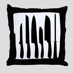 Chef Knife Set Throw Pillow