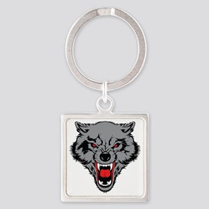 Angry Wolf Square Keychain