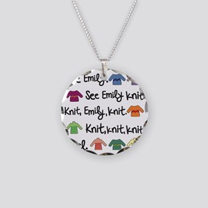 See Emily Knit Tote Necklace Circle Charm