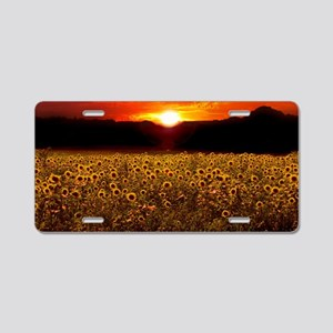 Sunflower Sunset iPad Case Aluminum License Plate