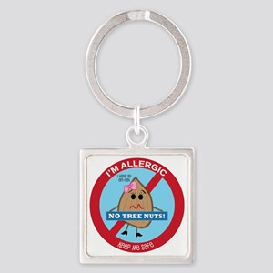 Tree Nut Allergy - Girl Square Keychain
