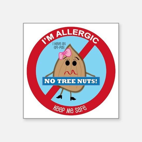 "Tree Nut Allergy - Girl Square Sticker 3"" x 3"""