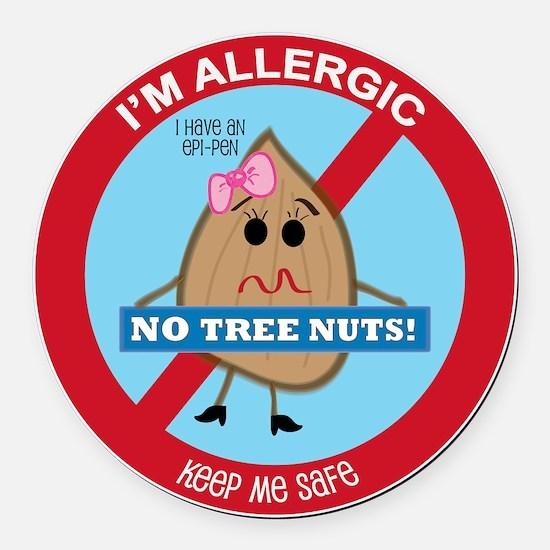Tree Nut Allergy - Girl Round Car Magnet