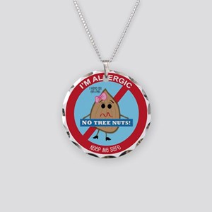 Tree Nut Allergy - Girl Necklace Circle Charm