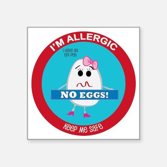 """Egg Allergy - Girl Square Sticker 3"""" x 3"""""""