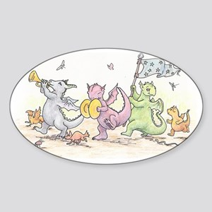 Dragons on Parade Sticker (Oval)