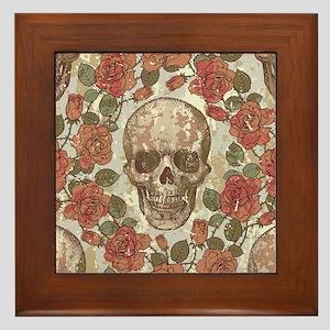 Skull and Roses Framed Tile