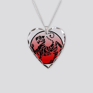 shotokan - black tiger on red Necklace Heart Charm