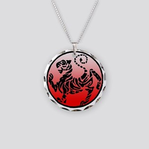 shotokan - black tiger on re Necklace Circle Charm