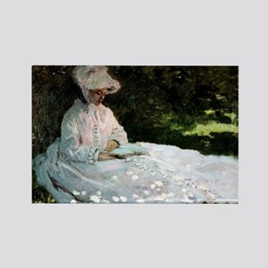 Claude Monet Woman Reading Rectangle Magnet