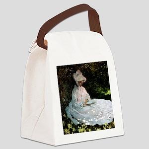 Claude Monet Woman Reading Canvas Lunch Bag