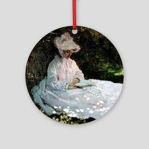 Claude Monet Woman Reading Round Ornament