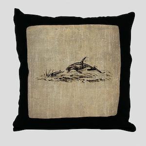 Vintage Killer Whale Throw Pillow