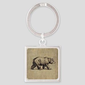 Vintage Bear Square Keychain