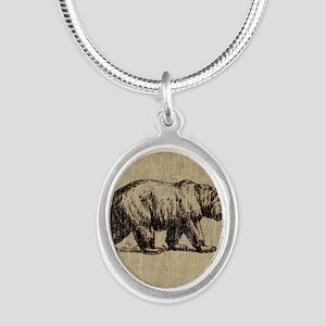 Vintage Bear Silver Oval Necklace