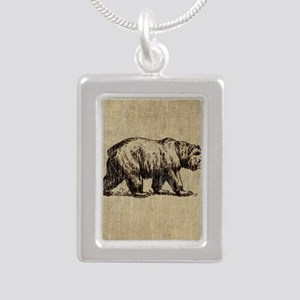Vintage Bear Silver Portrait Necklace