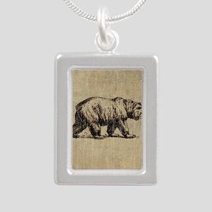Vintage Bear Silver Portrait Necklace