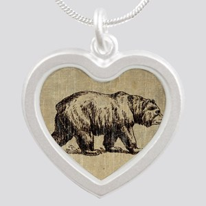Vintage Bear Silver Heart Necklace