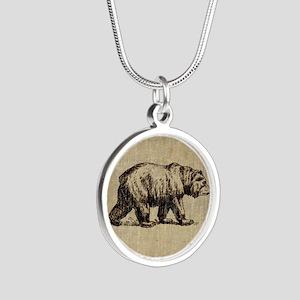 Vintage Bear Silver Round Necklace