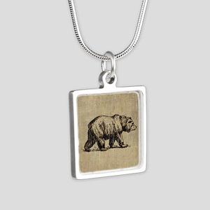 Vintage Bear Silver Square Necklace
