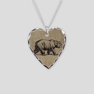 Vintage Bear Necklace Heart Charm