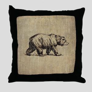 Vintage Bear Throw Pillow