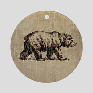 Vintage Bear Round Ornament
