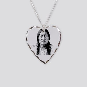 Chief Sitting Bull Says Shut  Necklace Heart Charm