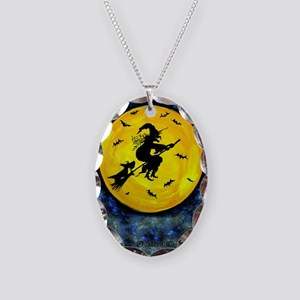 Scottie Moon  Halloween Witch Necklace Oval Charm