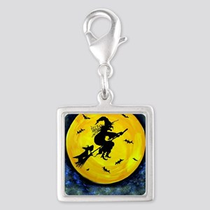 Scottie Moon  Halloween Witch Silver Square Charm