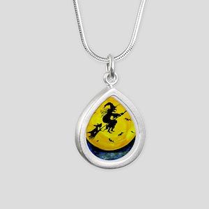 Scottie Moon  Halloween  Silver Teardrop Necklace