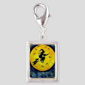 Scottie Moon  Halloween Witc Silver Portrait Charm