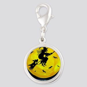 Scottie Moon and Halloween Wit Silver Round Charm