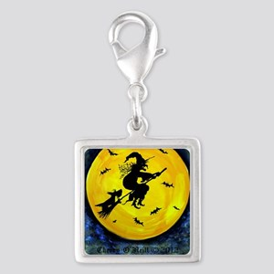 Scottie Moon and Halloween Wi Silver Square Charm