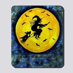 Scottie Moon and Halloween Witch Mousepad