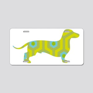Dachshund Yellow Hicks Aluminum License Plate