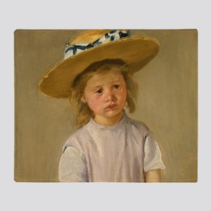 Mary Cassatt Child In Straw Hat Throw Blanket