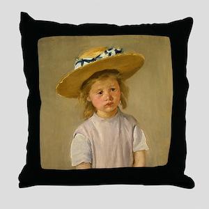 Mary Cassatt Child In Straw Hat Throw Pillow