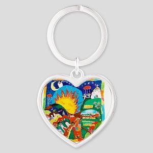 Guatemalan Sunrise Heart Keychain