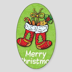 Christmas Socks Sticker (Oval)