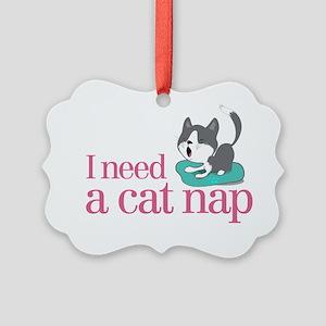 cat nap Picture Ornament