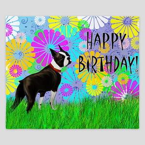 Birthday Boston Terrier King Duvet