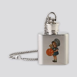 cute girl with pumpkin Flask Necklace