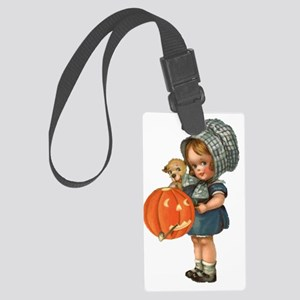cute girl with pumpkin Large Luggage Tag