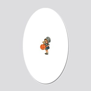 cute girl with pumpkin 20x12 Oval Wall Decal