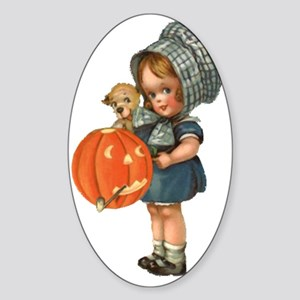 cute girl with pumpkin Sticker (Oval)
