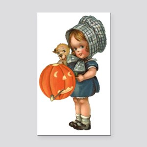 cute girl with pumpkin Rectangle Car Magnet